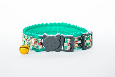Chequered Green Felt Cat Collar