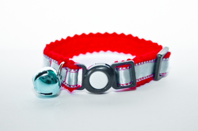 Silver Blue and Red Cat Collar