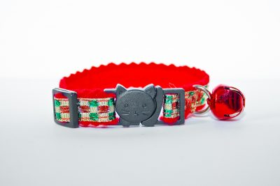 chequered with red felt cat collar