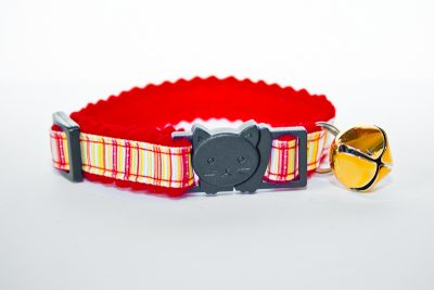 red and yellow stripy cat collar