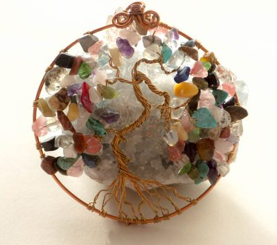 Gemstone Tree of Life Suncatcher closeup