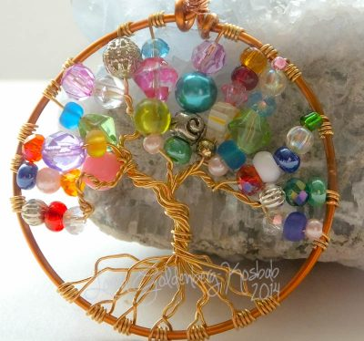 Colourful Tree of Life Pendant closeup
