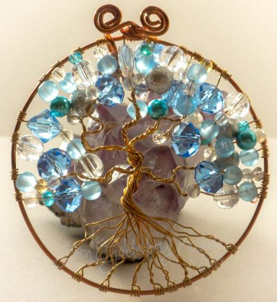 Reflective Blue Tree of Life Suncatcher Closeup