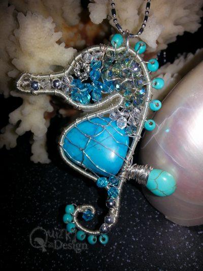 Silver Beaded Seahorse Pendant