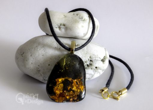 """""""Amber"""" Copper Infused Resin Drop Pendant Necklace"""