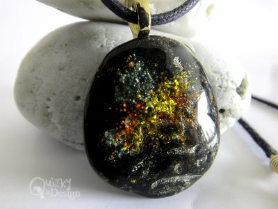 """Galaxy"" Resin Glitter Pendant and Necklace"
